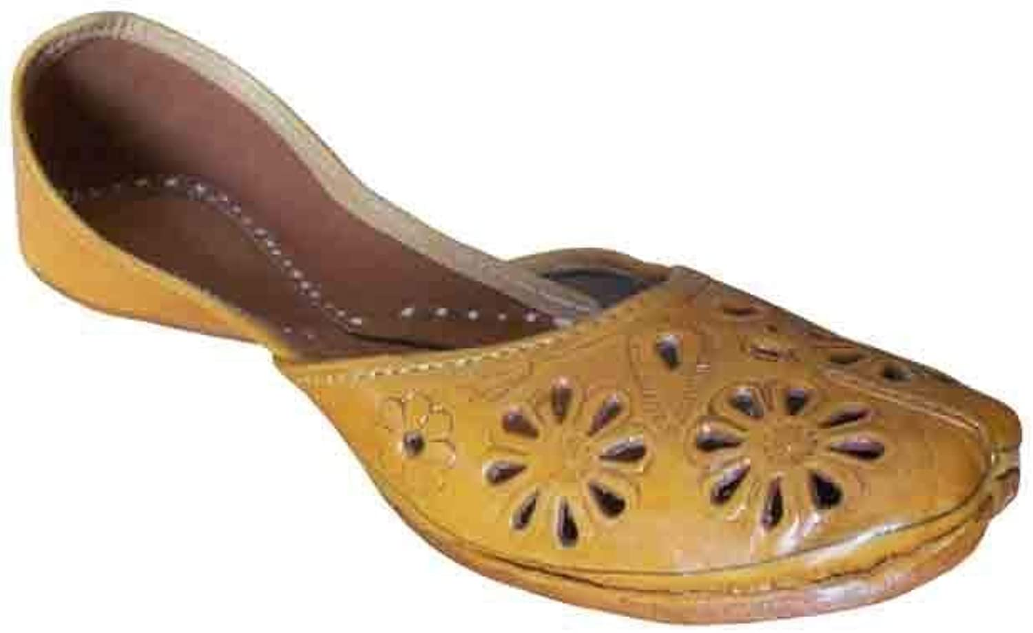 Kalra Creations Jutti Indian Casual Women shoes Handmade Leather Flip-Flops Flat Camel