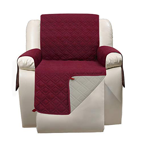 Recliner Chair Cover with Pockets - RBSC Home Waterproof Anti Slip Lazy Boy Chair Covers for Pets Dogs Cats Washable -  SFCV327GZ-Recliner-Burgundy