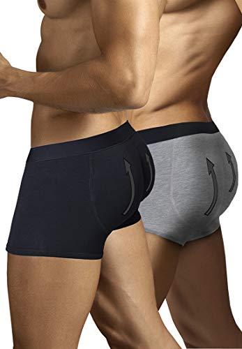 ARIUS Pack 2 Calzoncillos Boxer con Relleno Trasero para Aumentar el Volumen y tamaño de glúteos y Levantar. 1 en Color Negro y 1 en Color Gris - Push up y Relleno de Nalgas (L)