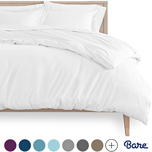 Bare Home Duvet Cover and Sham Set - Queen Size - Premium 1800 Ultra-Soft Brushed Microfiber - Hypoallergenic, Easy Care, Wrinkle Resistant (Queen, Cool White)