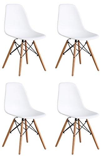 OYE HOYE Set von 2/4Moderne Elegante und Moderne Designer Esstisch/Lounge Kunststoff Stuhl, strapazierfähig, Bequem, Holz, weiß, 4-Pack