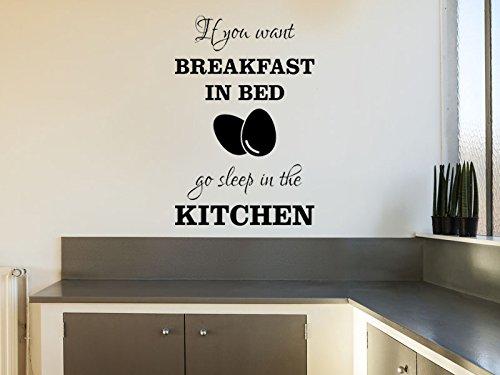 Adhesivo decorativo para pared, diseño de cita de desayuno en la cama, tamaño mediano, 64 cm de alto x 42 cm de ancho, color gris