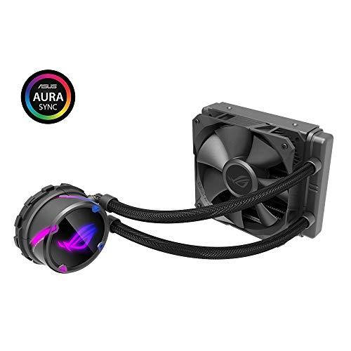ASUS ROG STRIX LC 120 Cooler CPU All-in-One ROG con Illuminazione Addressable RGB, Aura Sync, Rivestimento Pompa NCVM e Ventola del Radiatore ROG 120 mm, Black