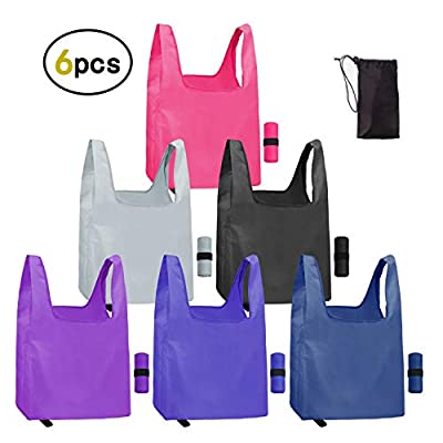 Reusable Grocery Bags 6 Pack Reusable Washable Grocery Bags Eco Friendly Machine Washable Foldable Lightweight Sturdy reusable washable grocery bags for Groceries, Shopping Trip