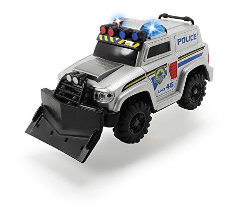 Dickie Toys Polizei SUV mit Schiebeschild zum Abnehmen, Polizeiauto, Geländefahrzeug, Spielzeugauto mit Seilwinde, Licht & Sound, inkl. Batterien, 15 cm, ab 3 Jahren