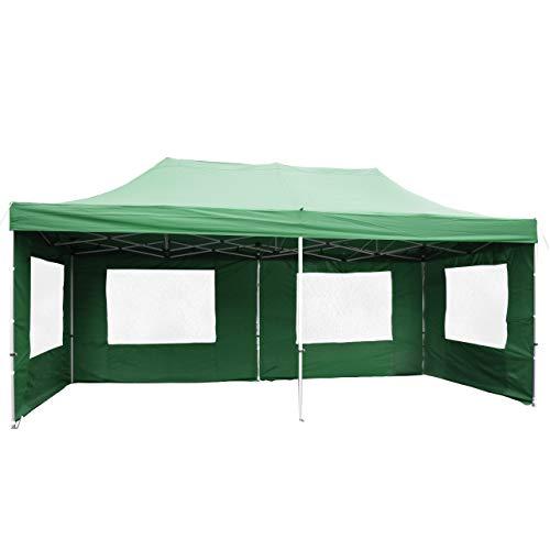 Falt-Pavillon Partyzelt mit Seitenteilen solide Ausführung für Garten Terrasse Feier Markt als Unterstand Plane wasserdichtes Dach 270/m² 3 x 6 m grün