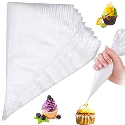 Sac a Poche Usa e Getta 100 Pezzi Sacchetti per Pasticceria Borsa da Piping per Decorare Torte, Cupcakes, Biscotti, Muffin, Cioccolato Adatto a Tutti Gli Ugelli Spruzzatori