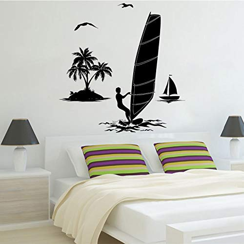 NSRJDSYT Pegatina de Pared de Windsurf, calcomanía de Vinilo de Gaviota, Mural de Windsurf, decoración de habitación para niños, Barco, embarcación, Islas, decoración de 57x58cm