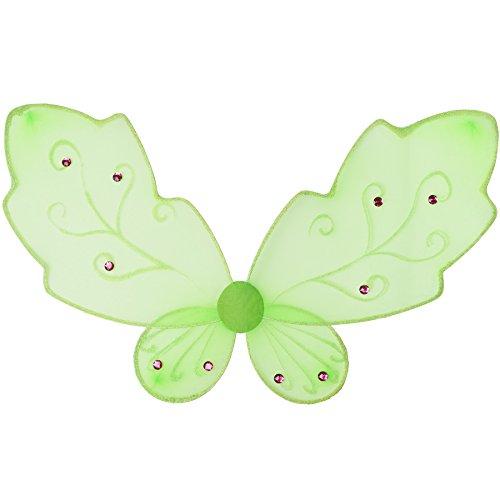 TecTake dressforfun Fantasy Feenflügel in Grün | inkl. Gummibändern zur Befestigung am Rücken | 77 x 52 cm