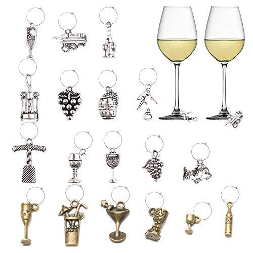 Luxtrip 18 pcs Wine Wine Tasting Party Decoration Supplies Gift Themed Wine Glass Charms Wine Lover and World Traveler Themes Wine Glass Charms Markers Drink Markers