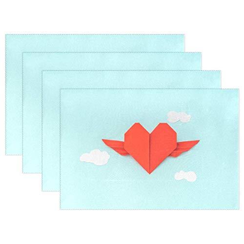 Decoración para El Hogar,Kitchen Placemat,Papel Rojo Corazón De Origami con Alas Manteles Individuales Resistentes Al Calor Duraderos para La Mesa De Comedor Todos Los Días Tapete Reutilizable Básic