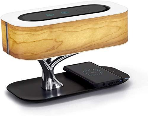 Lámpara de noche con altavoz Bluetooth y cargador inalámbrico, lámpara de mesa Lámpara de escritorio con modo de suspensión Denunción continua