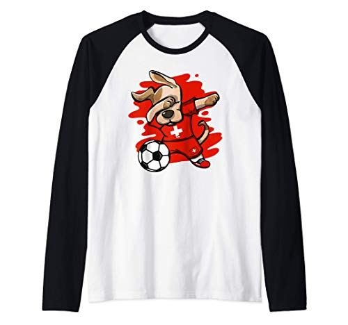 Divertente Dabbing Cane Svizzera Calcio - Bandiera Sport Maglia con Maniche Raglan