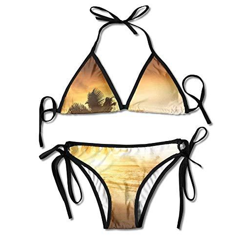 huatongxin Palm Tree Sea Beach Wallpapers Bikini Women's Summer Swimwear Triangle Top Bikinis Badeanzug Sexy 2-teiliges Set