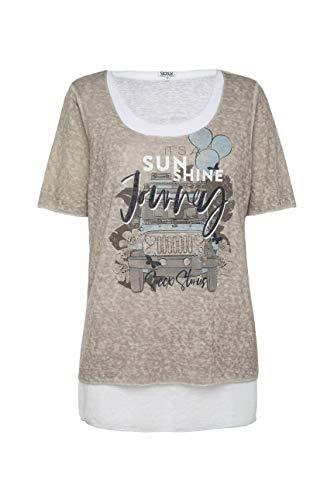 SOCCX Damen 2-in-1 Layering Shirt mit Artwork