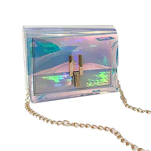 mooderf Bolsa de la compra transparente, bolso de mano de colores con cadena, arco iris, cartera láser transparente, mini bolsa para la playa, para mujeres