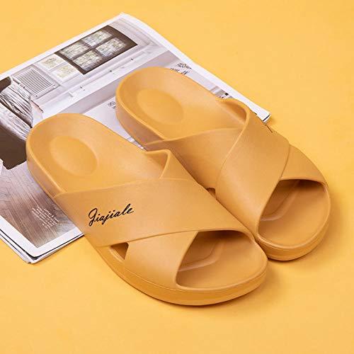 XZDNYDHGX Zapatillas Antideslizantes para Mujeres Y Hombres,Zapatillas de casa para Hombre, Zapatillas de baño para Interior, Sandalias, Chanclas Antideslizantes Amarillo EU 34-35