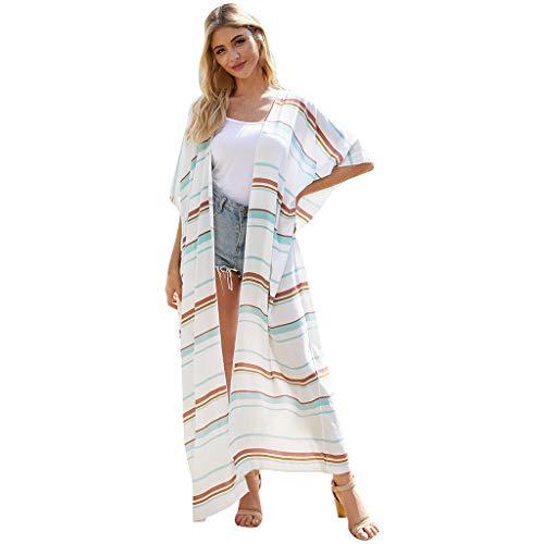 TUDUZ Damen Spitzen Kimono Cardigan Boho Chiffon Lose Schal Top Strand Bikini Cover Up Quaste Smock Beachwear Sommerkleid Strand Sonnencreme Bluse Lace Strandkleid (XXXL, Weiß)