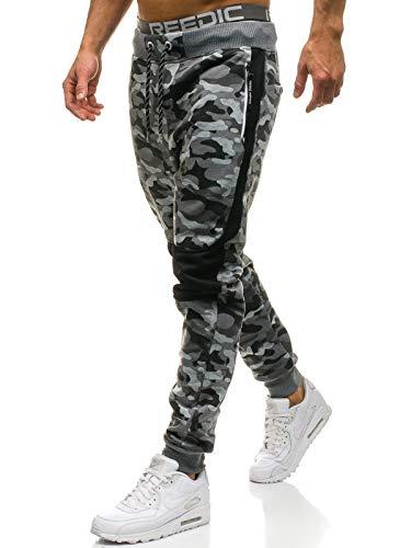 BOLF Pantaloni Sportivi – Tipo Jogger – Motivo Mimetico - Stile Street – da Uomo P&L Fashion QN269 Grigi XXL [6F6]