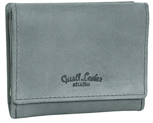 Gusti Geldbörse Leder - Hurley Mini Portemonnaie klein Geldbeutel Damen Herren Grau