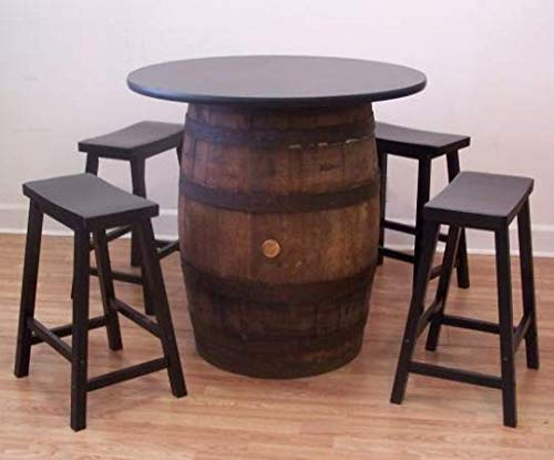 Whiskey Barrel Table-36 Table Top-(4) 24' Bar Stools