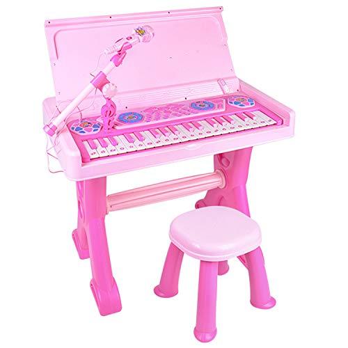 AAFF Kinder Piano Keyboard Hocker Klavier Spielzeug Mikrofon Musikinstrument, Elektronisches Keyboard E-Piano 37 Tasten, Lernspielzeug Klaviermatte Berührungsempfindliche,A