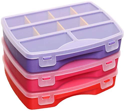 idea-station Sortimentskasten-Set 3 Stück, 19 x 15 cm, hot, Aufbewahrungs-Box, Sortierbox, Sortier-Kasten, Setzkasten, Kleinteilemagazin, Plastikbox, Ordnungs-System, Ordnungs-Box