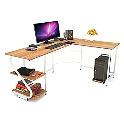 Weehom Reversible L Shaped Desk with Shelves Large Corner Computer Desks for Home Office Writing Workstation Wooden Desk Table, Walnut+White Leg from Weehom