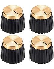 sourcing map 4uds Potenciómetro Perilla Marshall Estilo Amplificador Reemplazo Perilla Negra con Dorada Tapa Volumen Control Perilla
