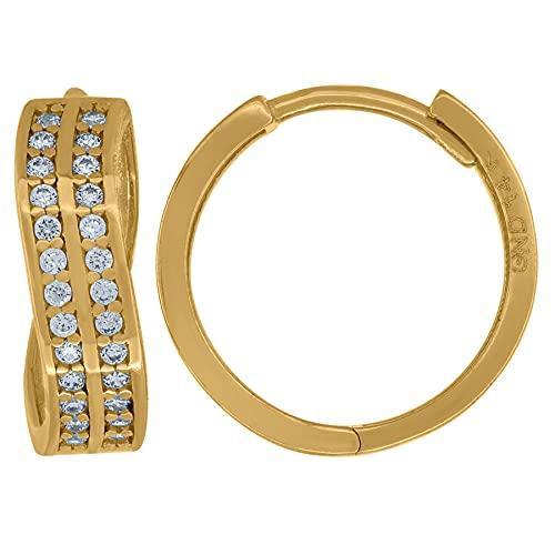 Pendientes de aro de oro amarillo de 14 quilates con circonita cúbica y diamantes de imitación trenzados, medidas de 15,5 x 15,7 mm de ancho, regalos para mujeres