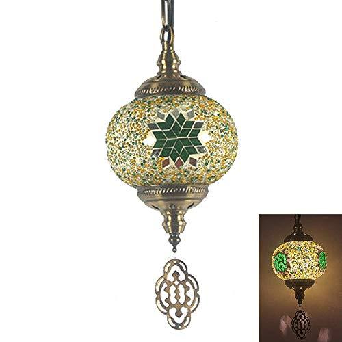 Éclairage suspendu en mosaïque de Turquie, lustre en verre abat-jour maroc lanterne lampe suspendue au plafond à la main E27 pour intérieur café Restaurant couloir-J