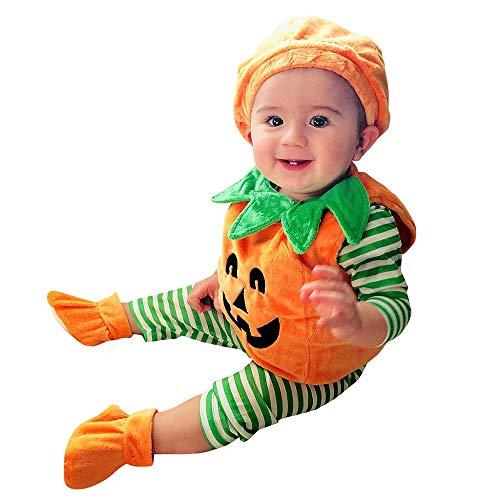 Kinder Halloween kostüm Kürbis Faschingskostüme Cosplay Spielanzug Niedlich Strampler Baby Jungen Mädchen kinderkostüme Bodysuit Karneval Fasching Jumpsuits mit Mütze Orange 90