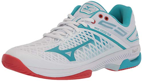 Mizuno Women's Tennis Shoe, White-Scuba Blue, 10.5