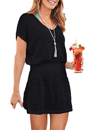 Bsubseach Women Hollow Out Beach Swimsuit Cover Ups Short Sleeve V Neck Bikini Vacation Tunic Dress Black