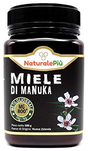 Miel de Manuka 800+ MGO 500g. Producida en Nueva Zelanda, activa y cruda, 100{c6983a32cee869a072bb0a8532cedc22fbcbf534a7a063416b145a58c1984f45} pura y natural. Metilglioxial probado por laboratorios acreditados. NaturalePiù