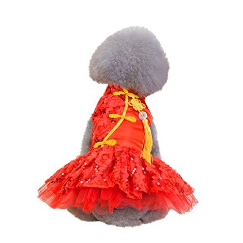 Bluelucon hond kat puppy kleding modieuze pailletten kant geborduurd hond jurk prinses bruiloft jurken kostuums kleding bedrukt tutu prinses jurk