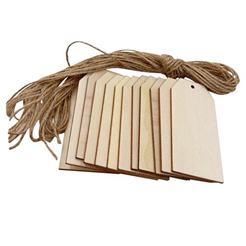 Healifty 50 st gör-det-själv fyrkantiga trätaggar hängande träornament med 10 m linerep för festdekor 40 x 80 mm