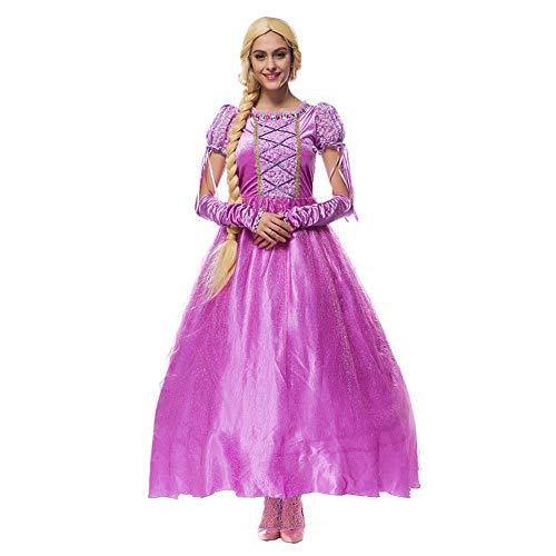 IBAKOM Damen Rapunzel Kleid Prinzessin Kostüm Erwachsene Halloween Weihnachten Karneval Märchen Cosplay Verkleidung Festival Outfit Violett M