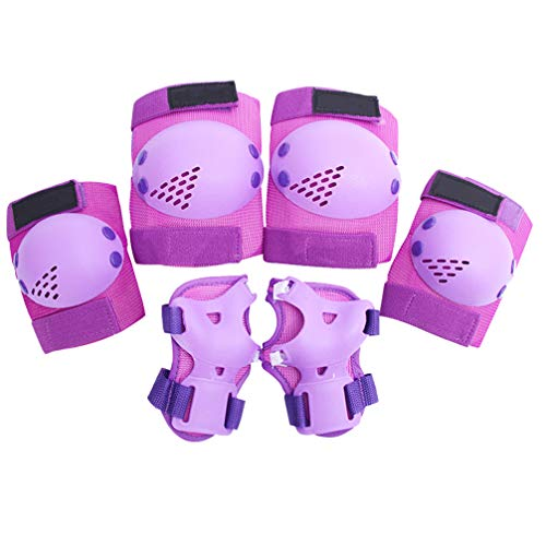 TOYANDONA 6 Pezzi Equipaggiamento Protettivo per Bambini Ginocchiere Protezioni Gomitiere Protezioni Set per Pattinaggio Ciclismo Bici Rollerblade Scooter (Viola)