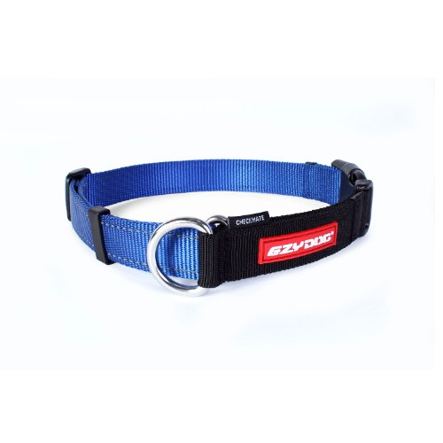 EzyDog Checkmate Hundehalsband - Halsband Hund - Zugstopp Halsband für Hunde - Zughalsband für hunde - Trainings und Dressurhalsband. Schlupfhalsband für Große, Mittlere und Kleine Hund (S, Blau)