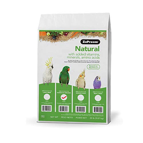 ZuPreem Natural Bird Food for Parrots and Conures, 20 lb bag | Made in the USA, Essential Vitamins, Minerals, Amino Acids for Conures, Caiques, African Greys, Senegals, Amazons, Eclectus, Small Cockat