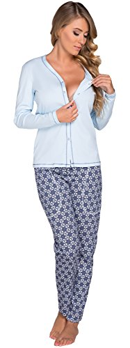 Italian Fashion IF Pigiami Due Pezzi per Donna Hydrangea 0223 (Blu, XXL)