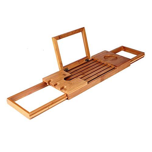 Badkuip steun plank, milieuvriendelijke intrekbare bamboe-multifunctionele antislip mobiele telefoonhouder badkamer badkuip rek