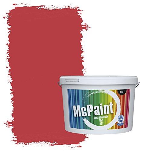McPaint Bunte Wandfarbe Feuerrot - 10 Liter - Weitere Rote Farbtöne Erhältlich - Weitere Größen Verfügbar