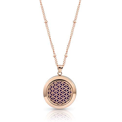 Flower of Life Aromatherapy Necklace, 9 diffusing Pads, Branded AromaLove Bag (Rose Gold)