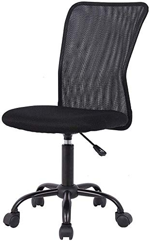 Ergonomic Small Armless Mesh Office Chair, Lumbar Support Chic Modern Desk PC Chair Black, Mid Back Adjustable Swivel for Home Office Conference Study Room Breathability Mesh Office Chair - Black