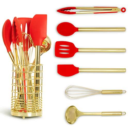 Conjunto de utensílios de cozinha vermelho e dourado com suporte – Conjunto de utensílios de cozinha de silicone vermelho inclui batedor dourado, espátula vermelha, pinças douradas, colher de silicone vermelha, espátula de cozinha e suporte de utensílios dourado – Decoração de cozinha vermelha