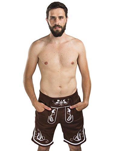 Herren Adam Jogging Lederhose - Jogginghose Sporthose Bestickt - Trachtenhose Oktoberfest - Schöneberger Fitness Trachtenlederhose (M, Braun)