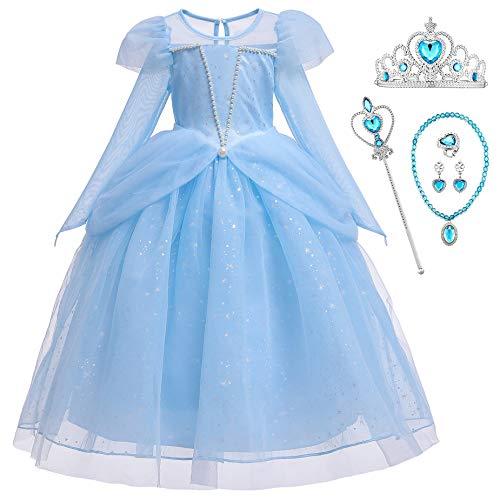 O.AMBW Disfraz de Princesa Elsa 2 Vestido de Frozen Traje de Fiesta Vestido Tul de Boda Cumpleanos Disfraz Ceremonia de Fiesta Cosplay de Carnaval Halloween Navidad 3-9 aos Azul