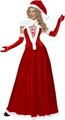 SMIFFYS Ladies Christmas Fancy Dress Party Outfit Miss Santa Costume Rosso
